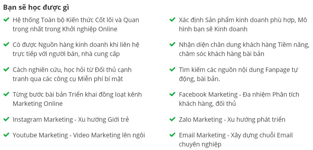 khóa họcĐột phá thu nhập 06 kênh marketing online ngay lập tức