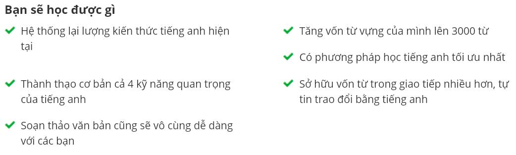 khóa họcHọc giỏi Tiếng Anh toàn diện: Nghe, Nói, Đọc, Viết