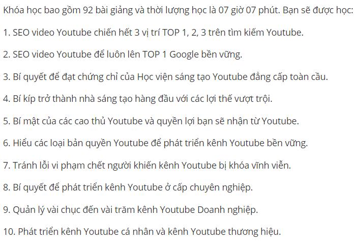 khóa họcBí quyết xây dựng kênh youtube và seo video thống lĩnh top 1 Google