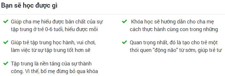 Khóa học onlineRÈN LUYỆN SỰ TẬP TRUNG CHO TRẺ TỪ 0-6 TUỔI